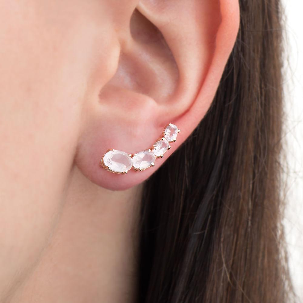 Brinco em Ouro Rosê 18k Ear Cuff Quartzo Rosa br21724 - joiasgold 6b515cce3e