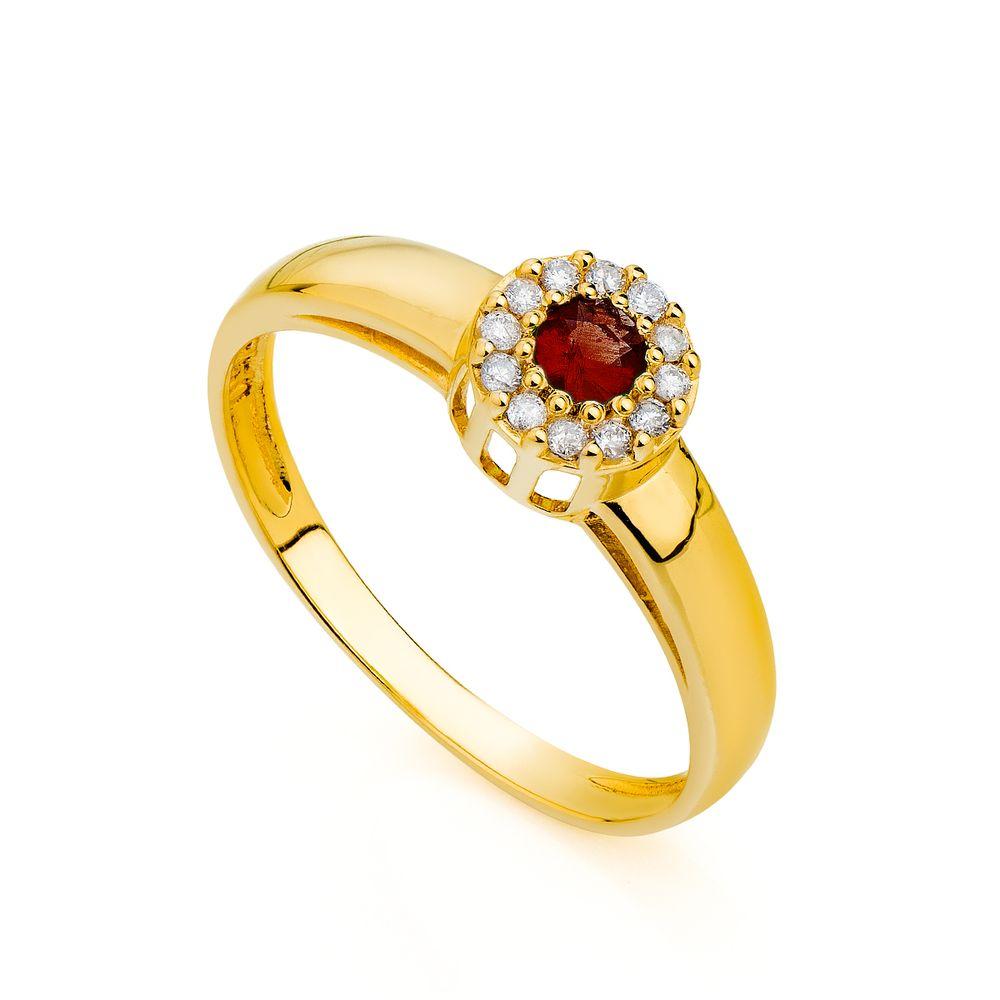 Anel de Formatura em Ouro 18k Rubi com Diamantes an00216 - joiasgold 3422f108e2