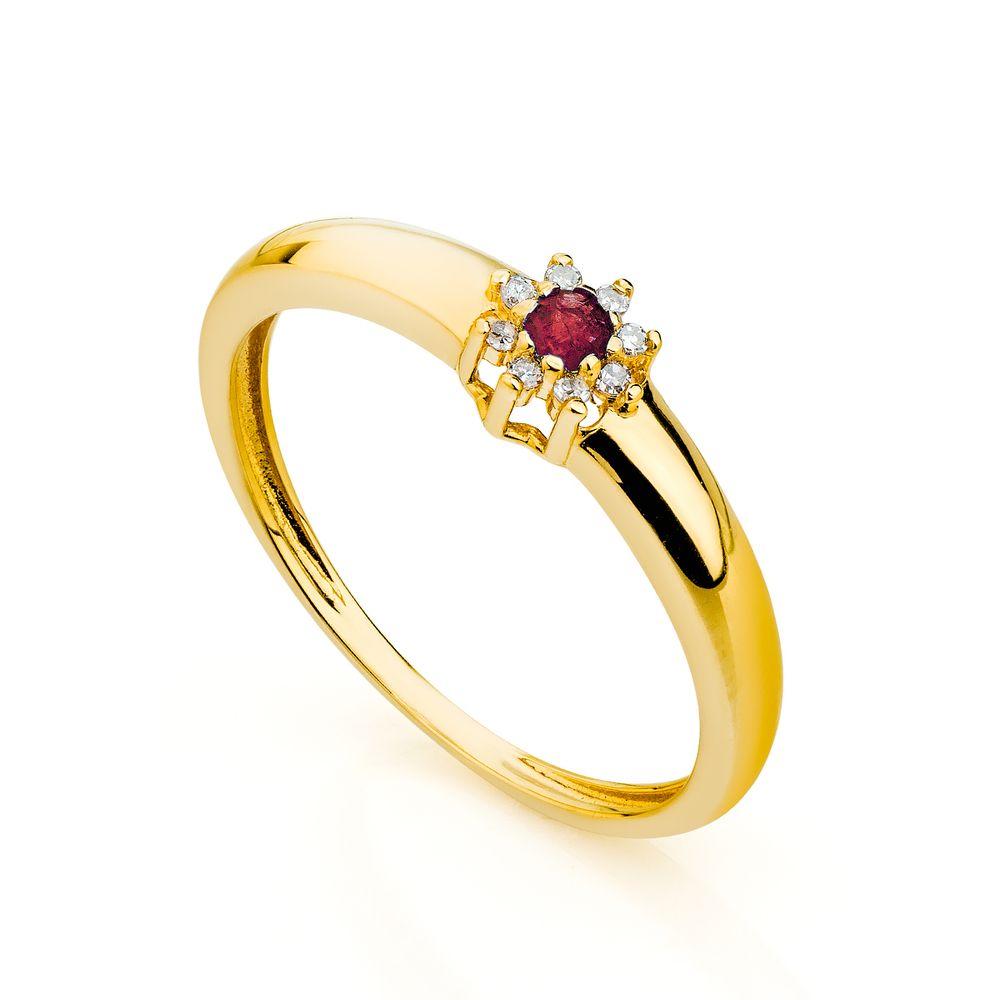 Anel de Formatura em Ouro 18k Flor Rubi com Diamantes an30137 ... 4afd20c153