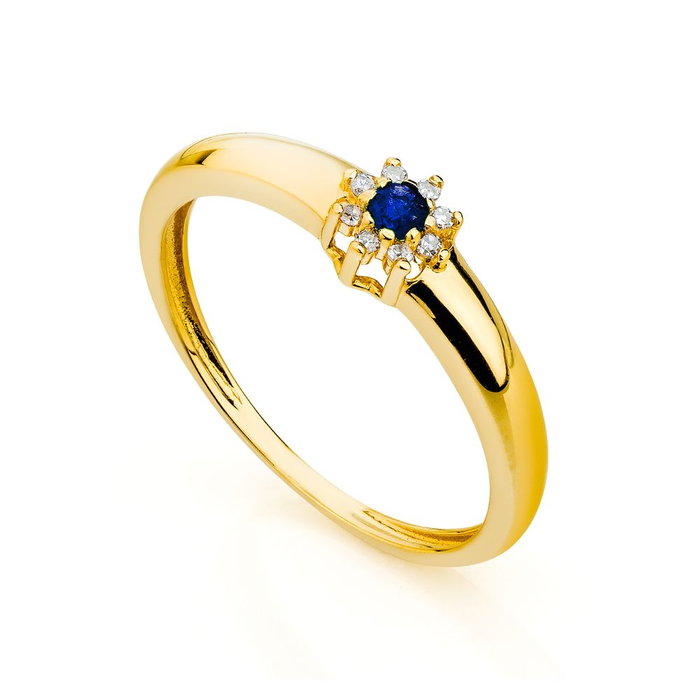 4b368b4b4cfe7 Anel de Formatura em Ouro 18k Flor Safira com Diamantes an30139 ...