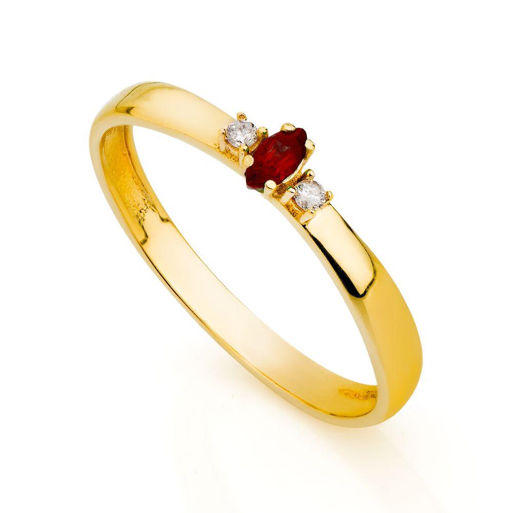 b7a238c7a3fb4 Anel de Formatura em Ouro 18k Rubi Navete com Diamantes an33786 ...