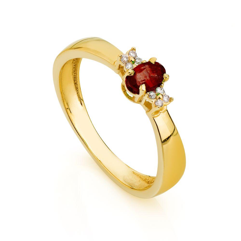 a7d79b5e5ba Anel de Formatura em Ouro 18k Rubi com Diamantes an33789 - joiasgold