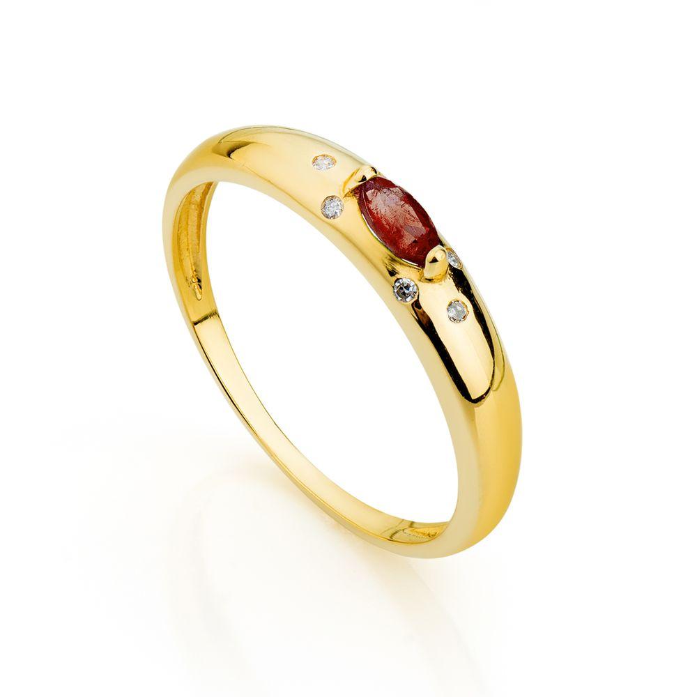 Anel de Formatura em Ouro 18k Rubi Navete com Diamantes an33795 ... e1ceacdb6a