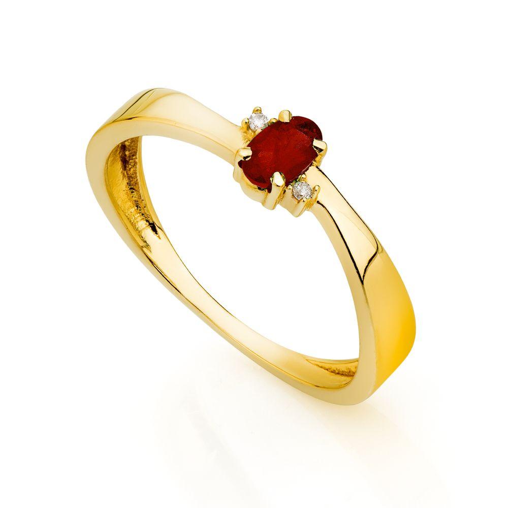 5c3105f3120 Anel de Formatura em Ouro 18k Rubi com Diamantes an33798 - joiasgold