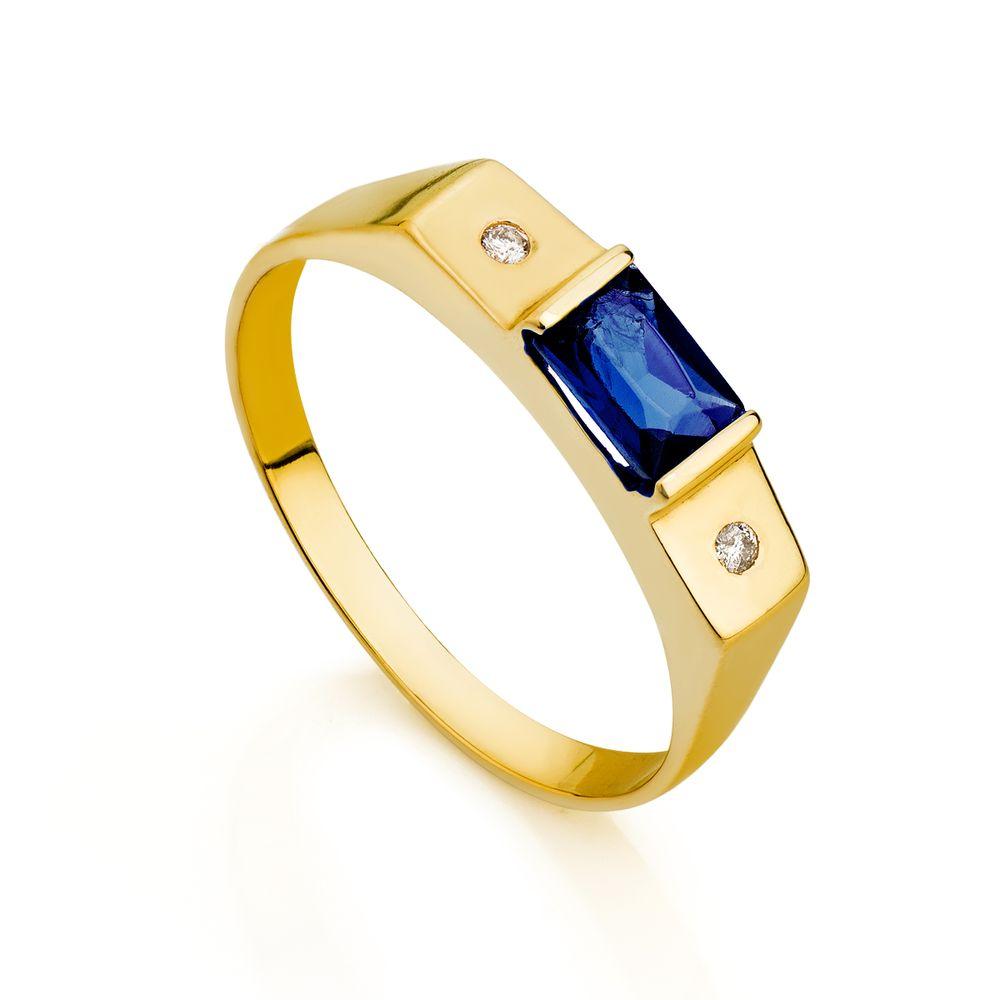 a3148b2fe131d Anel de Formatura em Ouro 18k Zircônia Azul com Diamantes an33801 ...