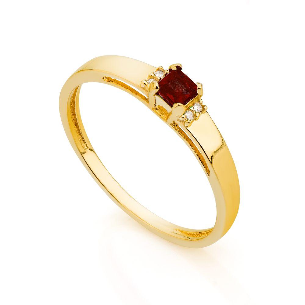 Anel de Formatura em Ouro 18k Rubi com Diamantes an33812 - joiasgold bdc923793d