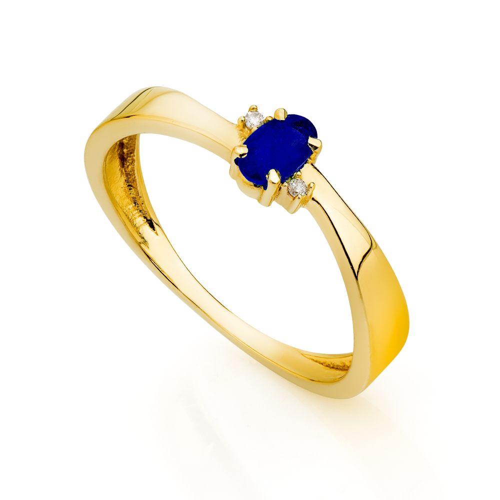 195605cd53ae9 Anel de Formatura em Ouro 18k Safira com Diamantes an33814 - joiasgold
