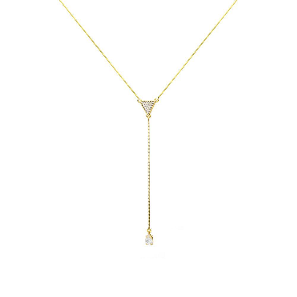 Gargantilha em Ouro 18k Modelo Gravata Diamante e Cristal ga03450 ... ceb9fca4fe