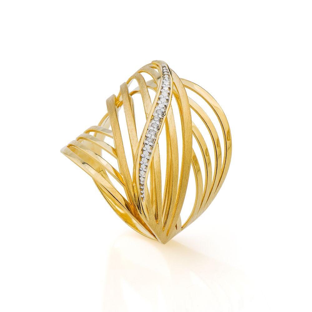 Anel em Ouro 18k Vazado com Filete de Diamantes an31699 - joiasgold fd73c6f824