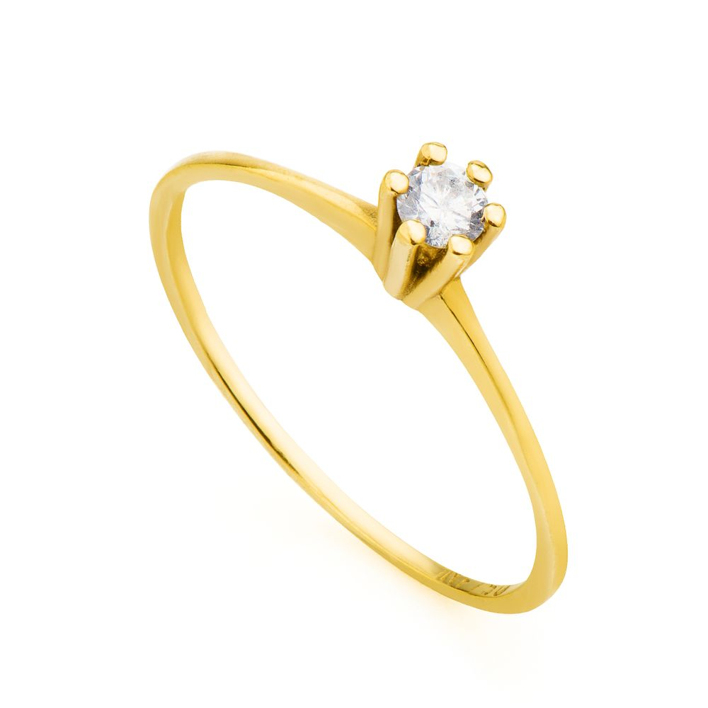 Anel em Ouro 18k Solitário com Diamante de 10 Pontos an31258 - joiasgold 4dbbc1b637