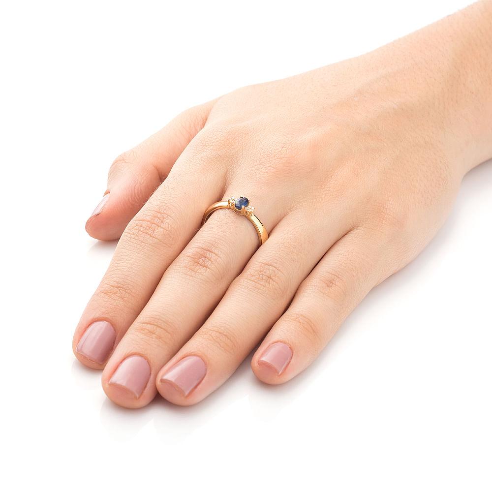 fdf4814a5 Anel de Formatura em Ouro 18k Safira com Diamantes an33790 - joiasgold