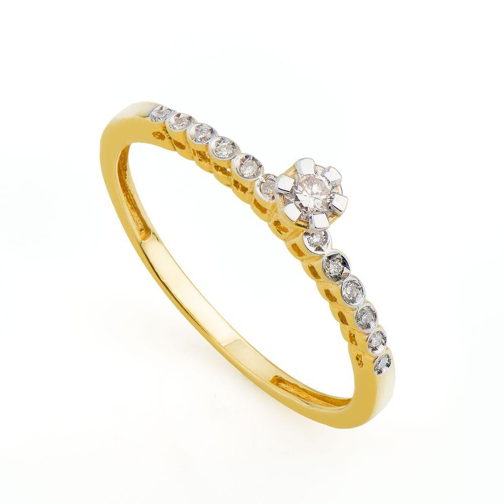 Anel em Ouro 18k Solitário Diamante de 10 Pontos an31331 - joiasgold 9c56d7b57c