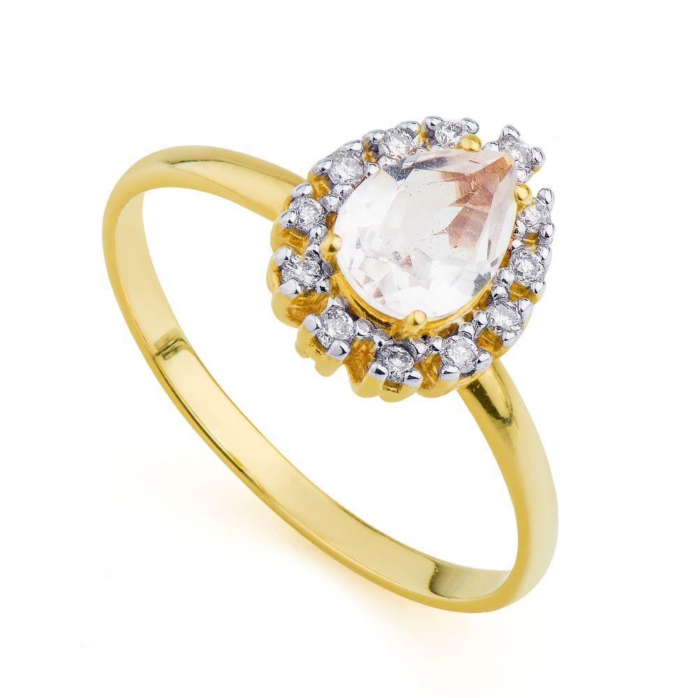 9b0d4245897 Anel em Ouro 18k Gota Cristal com Diamantes an31736 - joiasgold