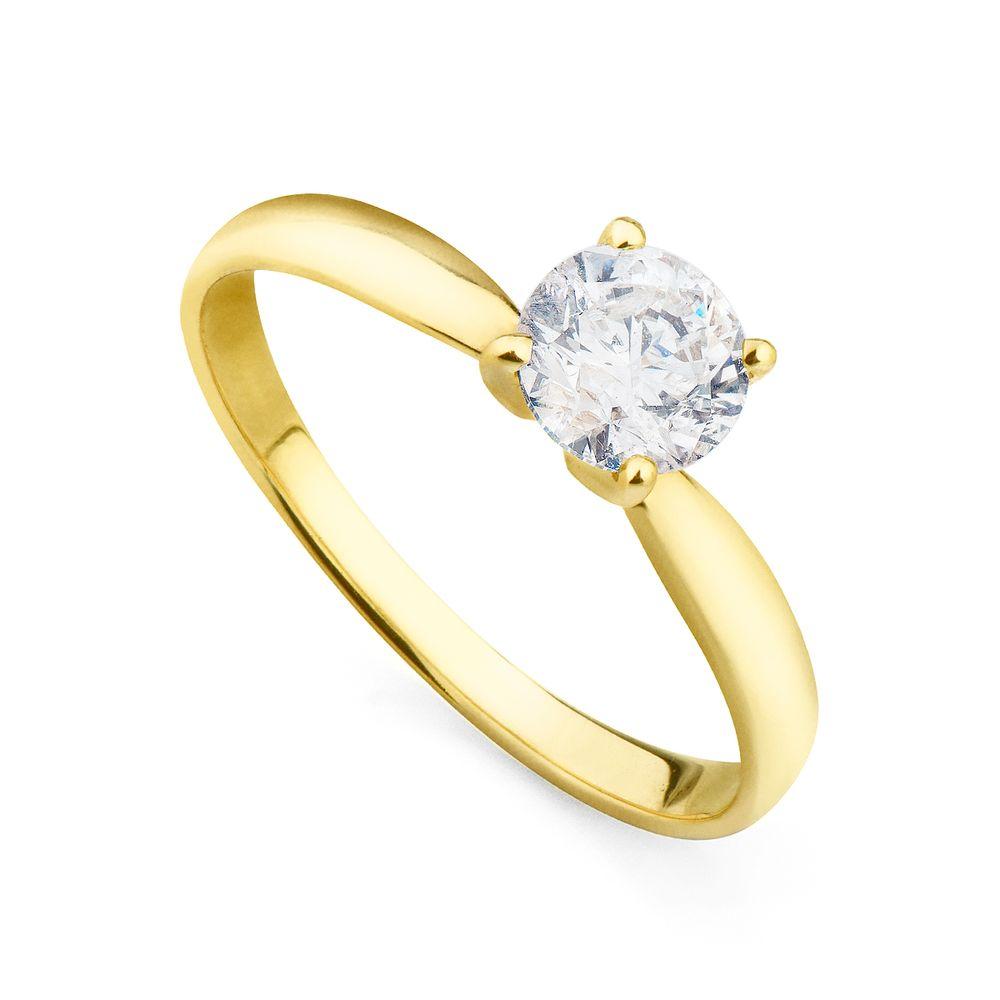 7864b85277917 Anel em Ouro 18k Solitário com Diamante de 70 pontos an34036 - joiasgold