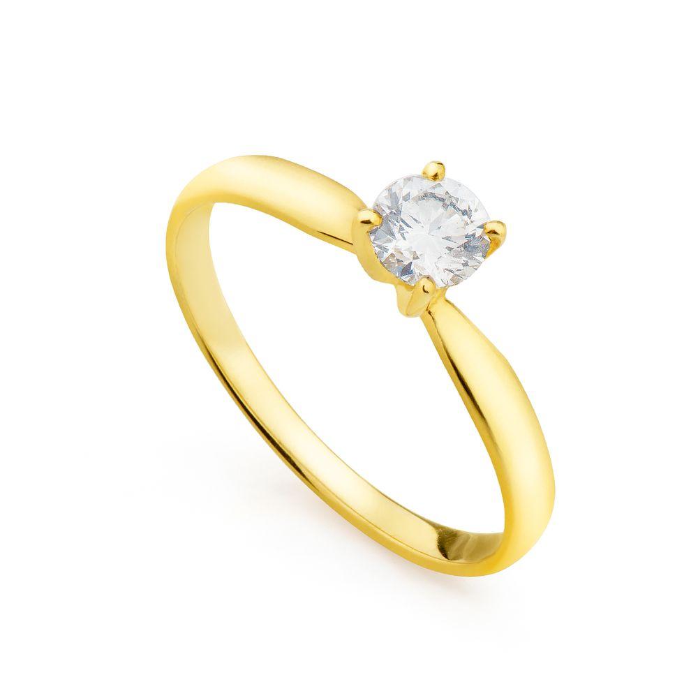 e722c9230ec72 Anel em Ouro 18k Solitário com Diamante de 40 pontos an34034 - joiasgold