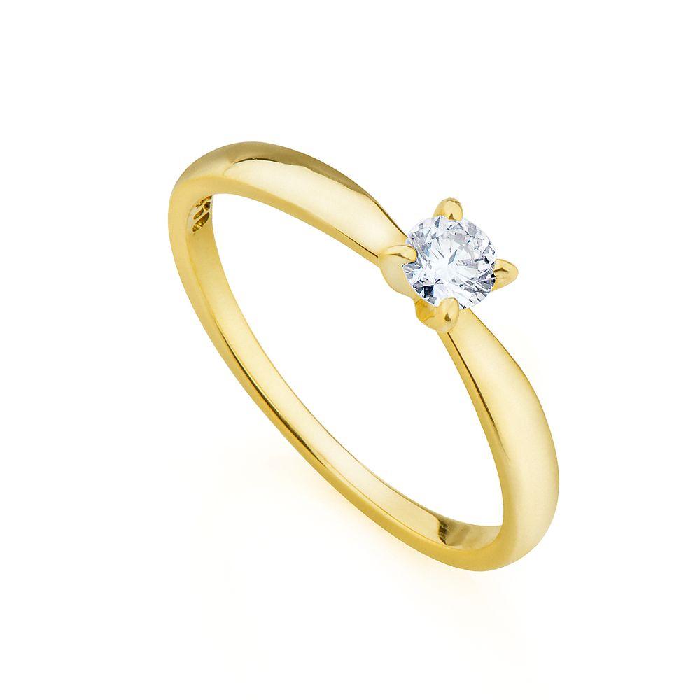 8ba5765acd48e Anel em Ouro 18k Solitário com Diamante de 20 pontos an34016 - joiasgold