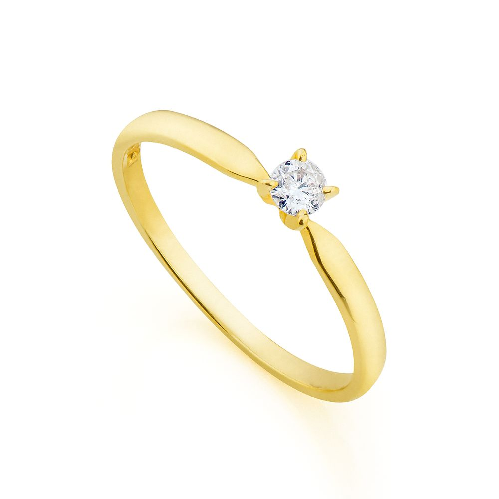 Anel em Ouro 18k Solitário com Diamante de 10 pontos an34014 - joiasgold 09c6e67459