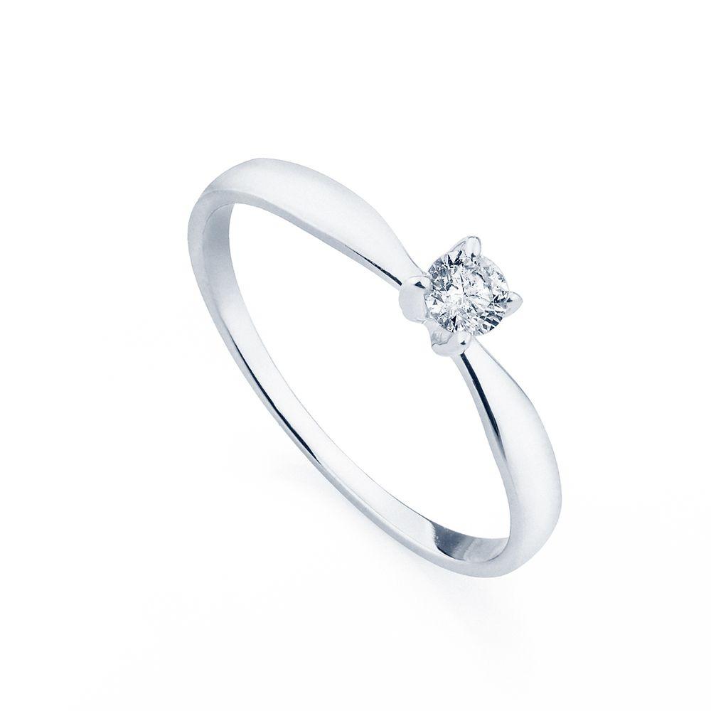 Anel em Ouro Branco 18k Solitário com Diamante de 15 pontos an34026 ... 6b39cb8a17