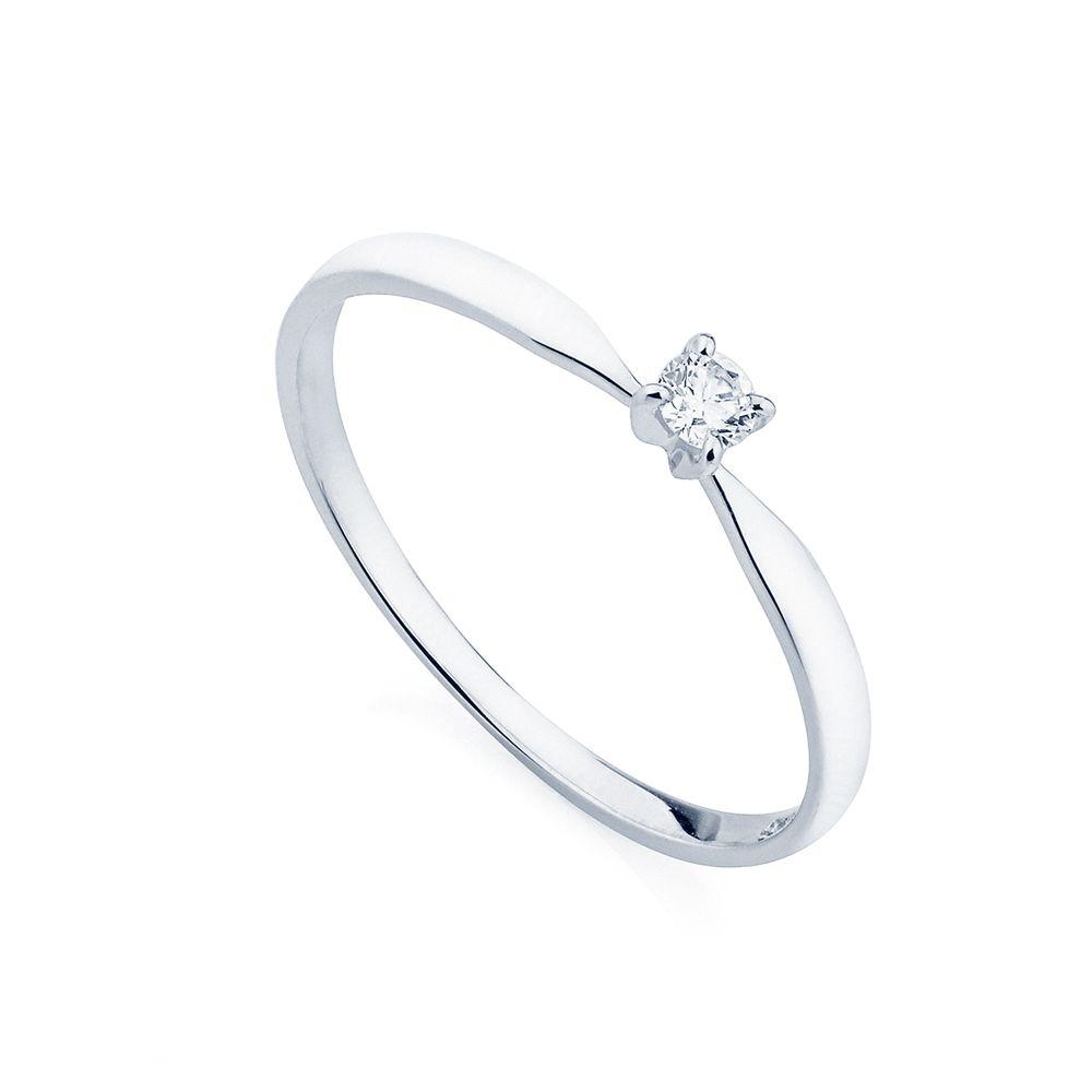 Anel em Ouro Branco 18k Solitário com Diamante de 5 pontos an34024 ... 00fd6841d1