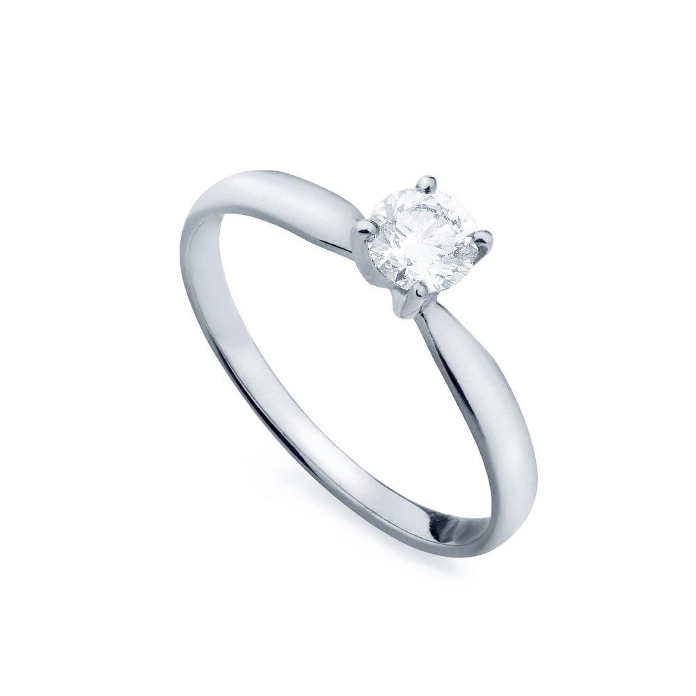 Anel em Ouro Branco 18k Solitário com Diamante de 30 pontos an34037 ... e944160f63