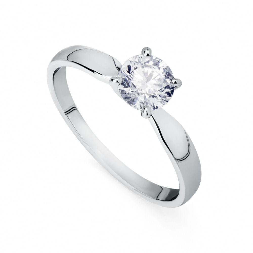 e6d24ba91653c Anel em Ouro Branco 18k Solitário com Diamante de 70 pontos an34040 ...
