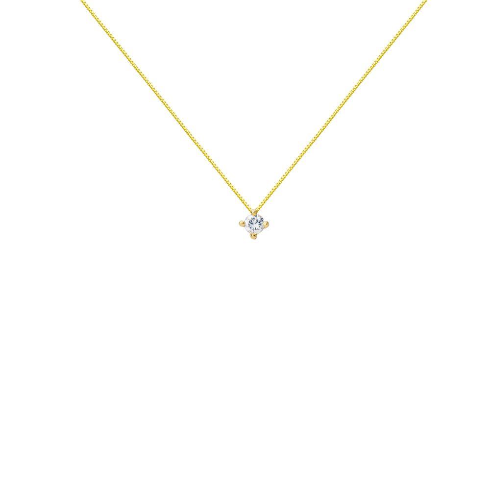 4e5125df84d86 Gargantilha em Ouro 18k Ponto de Luz Diamante de 3 Pontos ga03490 ...