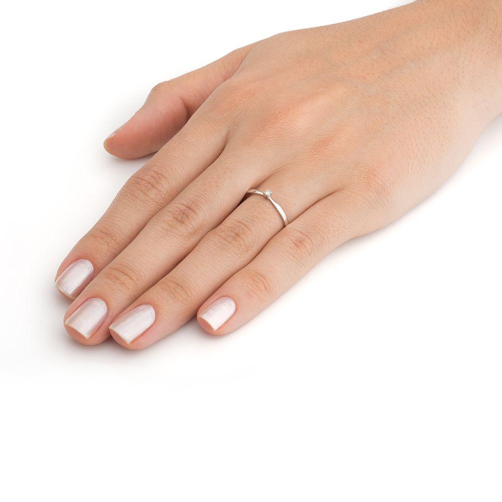 8be87b9c644fe Anel em Ouro Branco 18k Solitário com Diamante de 3 pontos an34022 ...