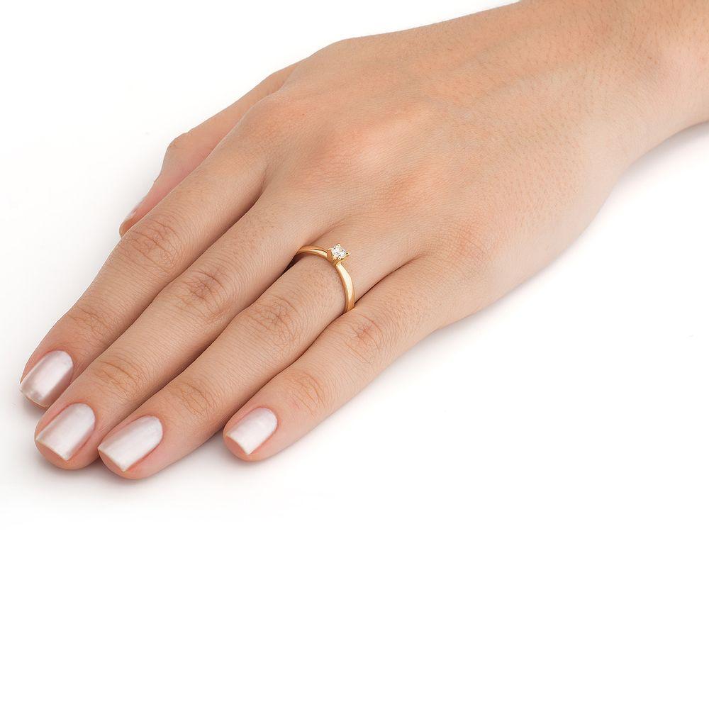 4d75c4633a723 Anel em Ouro 18k Solitário com Diamante de 20 pontos an34016 - joiasgold