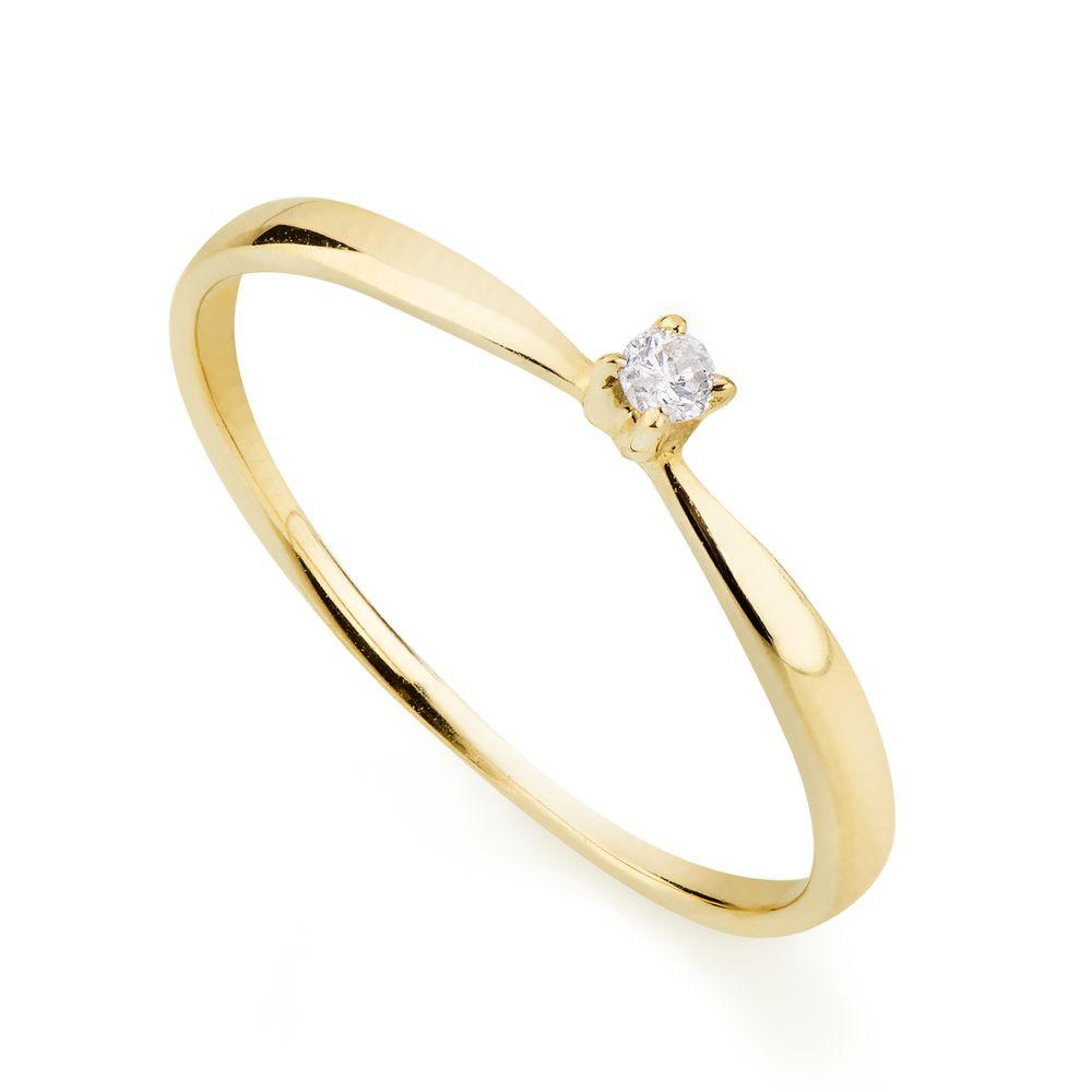 0314ee9e66017 Anel em Ouro 18k Solitário com Diamante 3 Pontos an34011 - joiasgold