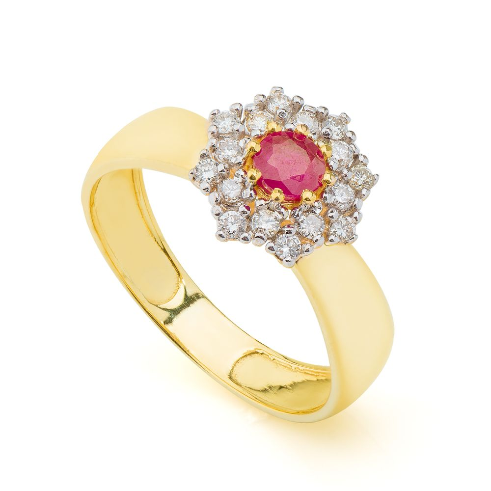 Anel em Ouro 18k Formatura com Rubi e Diamantes an34075 - joiasgold 5a55962096