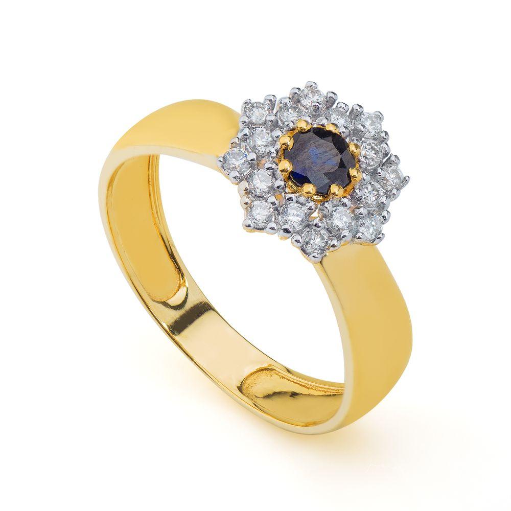 2673e91ceb782 Anel em Ouro 18k Formatura com Safira e Diamantes an34073 - joiasgold