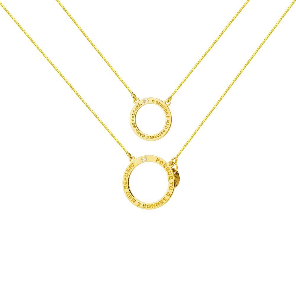 Escapulário em Ouro 18k Salmos 23 1 e 91 9 com Diamantes ga03533 ... 4366e544be
