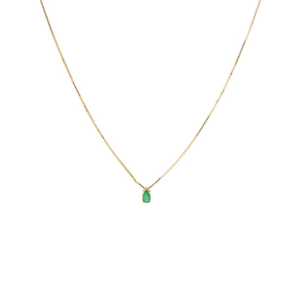 0d6c5cfd40d49 Gargantilha em Ouro 18k Veneziana 42cm com Gota Esmeralda - joiasgold