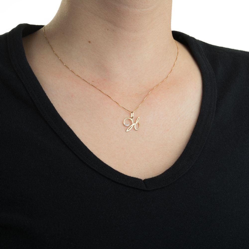Pingente em Ouro 18k Letra H com Diamantes pi17696 - joiasgold 19496b53e7