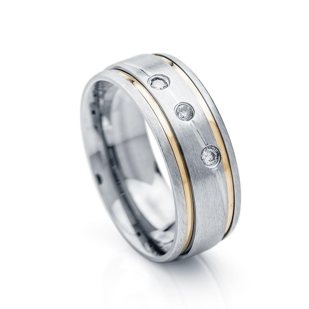 Aliança de Aço e Ouro Cor Prata 8,0mm com Zircônia Feminina alf520-1 ... 13aed556af