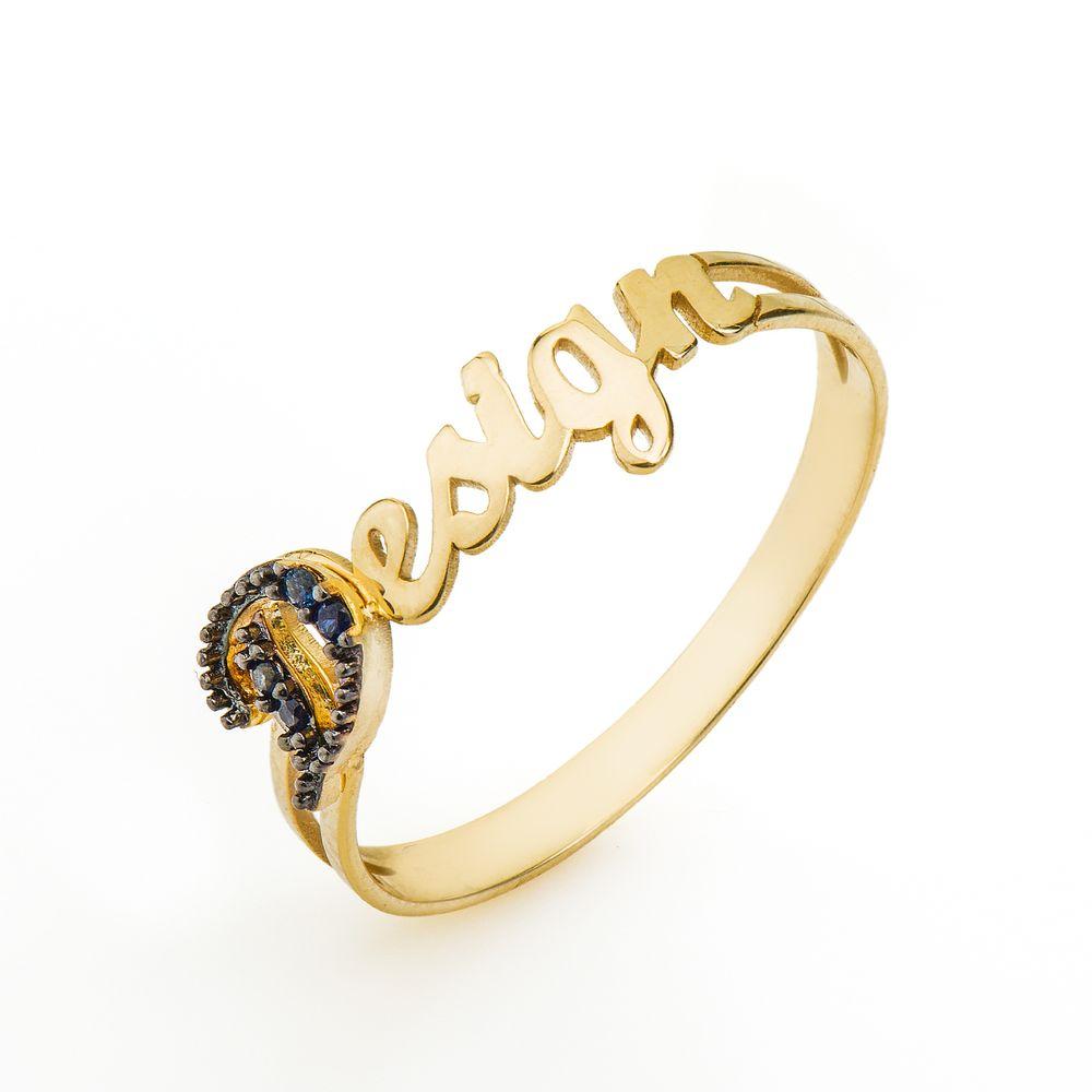 Anel de Formatura em Ouro 18K Design com Safira AN33756 - joiasgold 7536fc7cde
