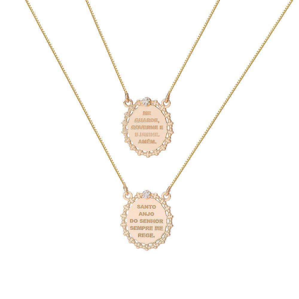 Escapulário em Ouro Rosê 18k Oração Santo Anjo com Diamantes ga03177 ... 65d4dc849f