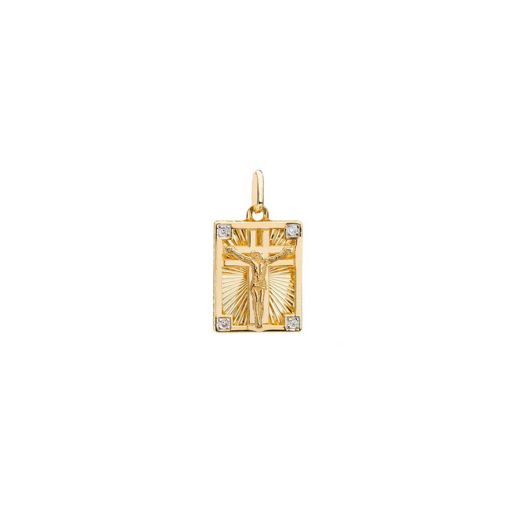 Pingente em Ouro 18k Retangular com Crucifixo e Diamantes pi18544 ... 0b8a500b7a