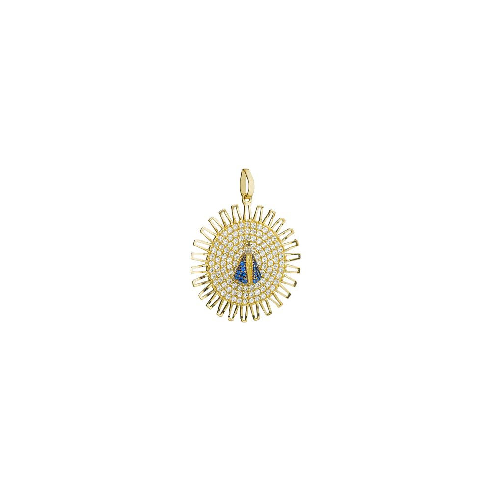 Pingente em Ouro 18k Mandala Nossa Senhora Aparecida com Zircônias ... 697a60abe1