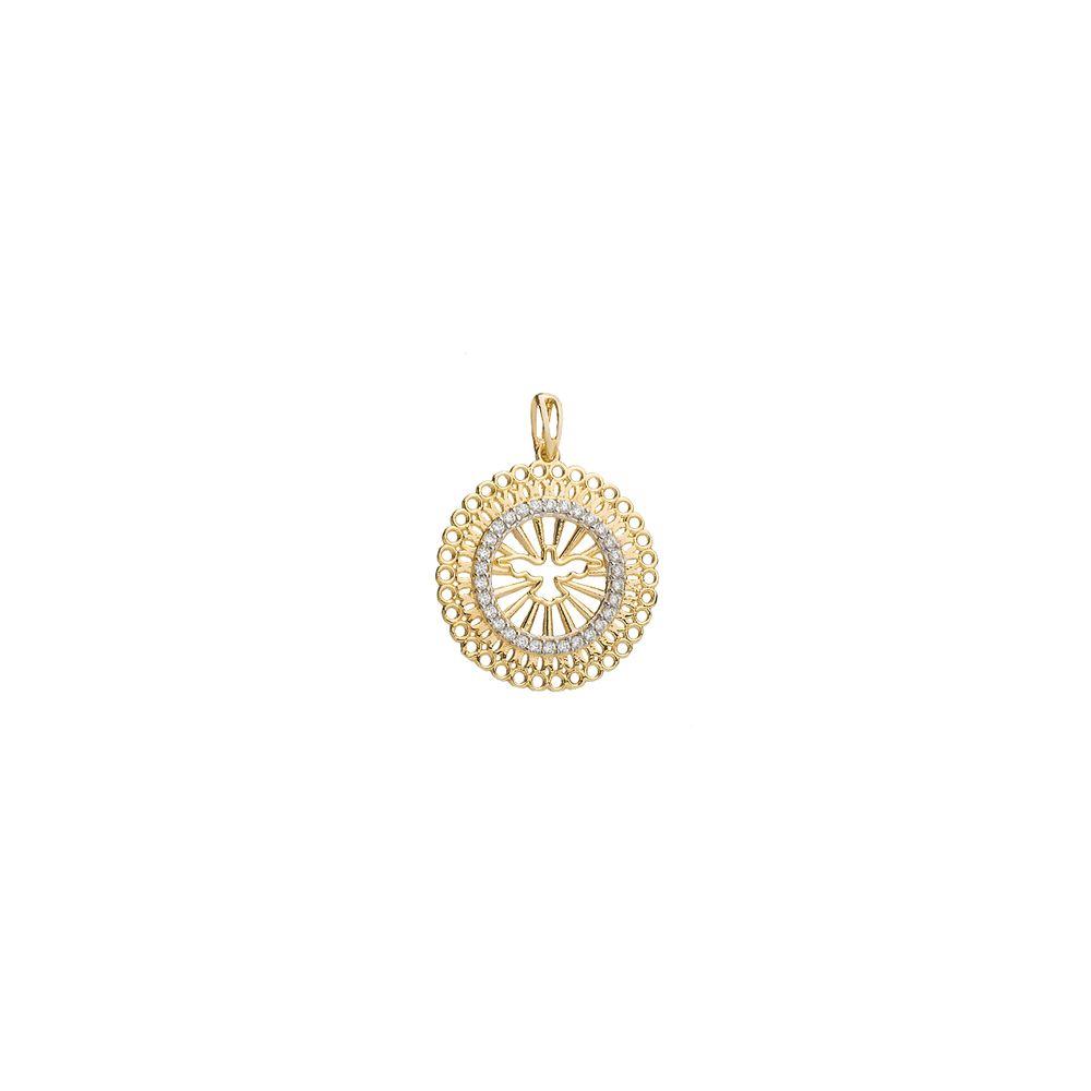 4d70330b356c0 Pingente em Ouro 18k Mandala Divino com Zircônia pi18923 - joiasgold