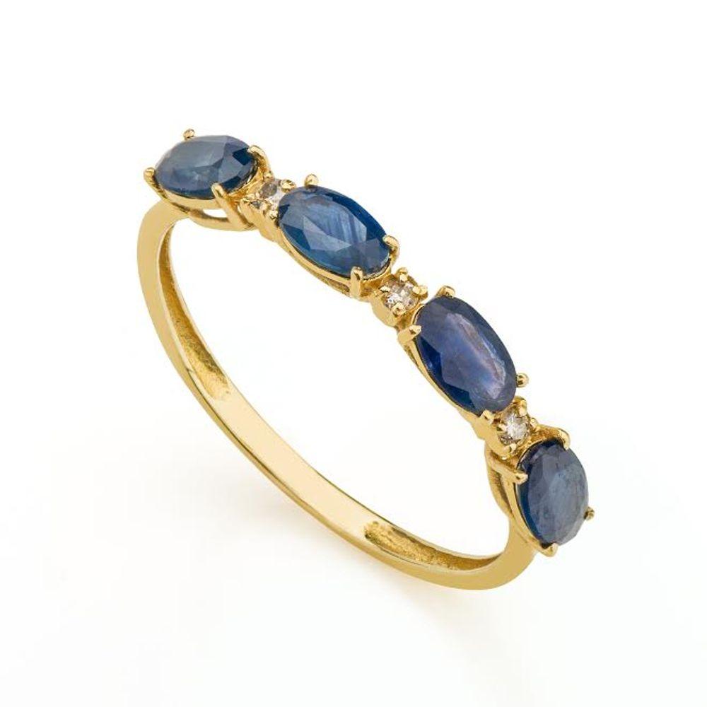 9c1913ae1b857 Anel em Ouro 18k Meia Aliança com Safira e Diamante an32267 - joiasgold