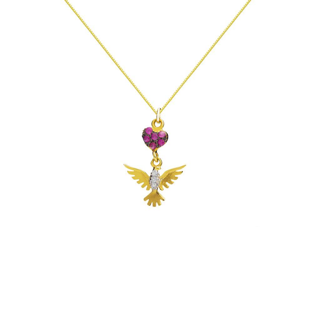 d8e14567f03c1 Gargantilha em Ouro 18k Coração Divino com Rubi e Diamante ga03055 ...