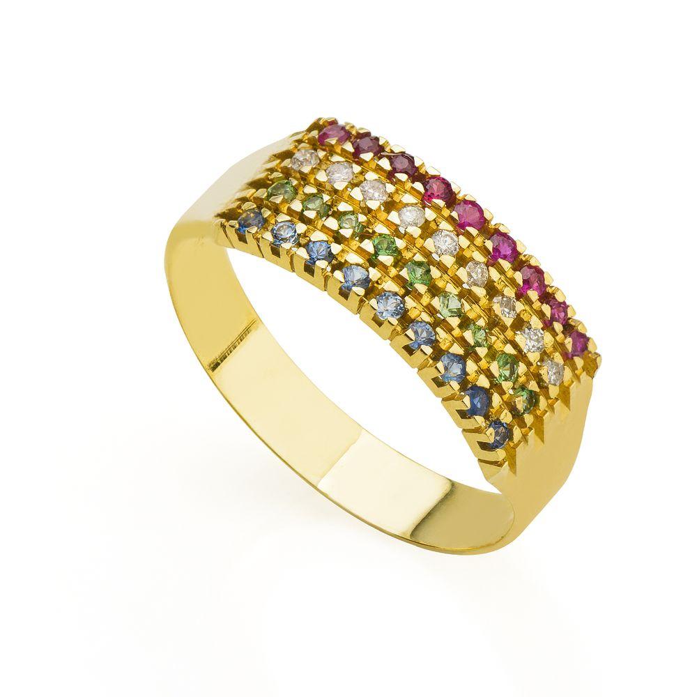31af8b6d12db0 anel ouro 18k meia Anel em Ouro 18k Meia Aliança Safira, Rubi ...