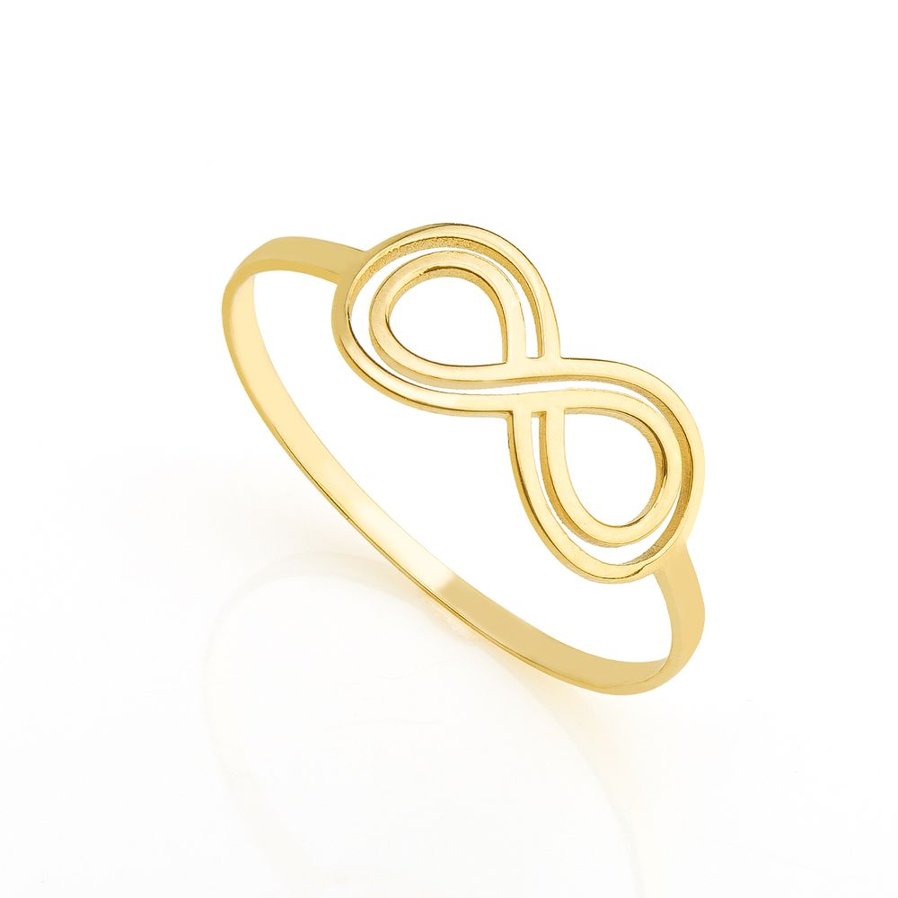 Anel em Ouro 18k Infinito Vazado Liso an34317 - joiasgold 02f20fd21f