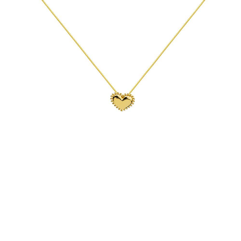 Gargantilha em Ouro 18k Coração com Borda Bolinhas ga03722 - joiasgold a07105b3bd