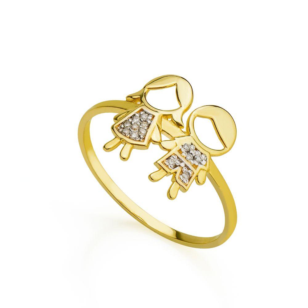 Anel em Ouro 18k Casal Menino e Menina com Diamante an34400 - joiasgold e872974206