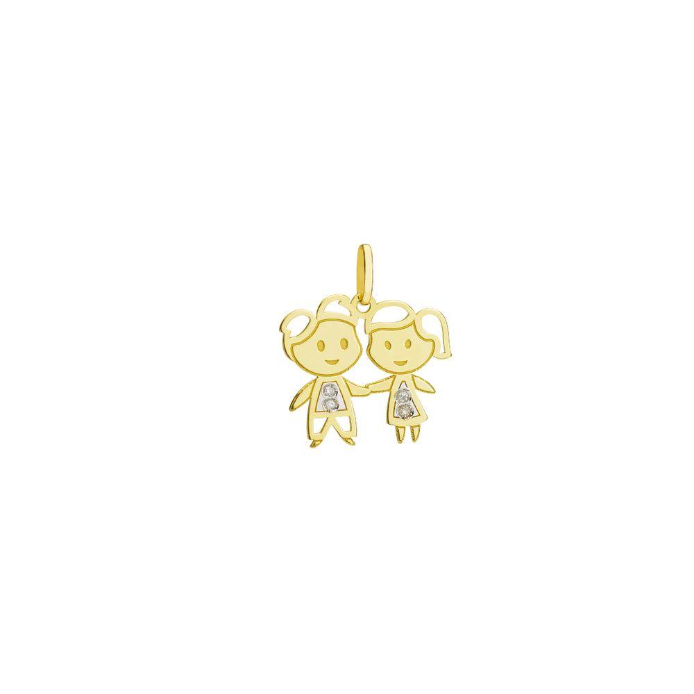 136de1b211 Pingente em Ouro 18k Casal Menino e Menina com Diamante pi19000 ...