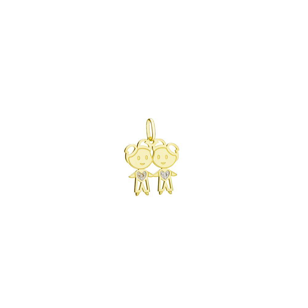 5adbceb0a6036 Pingente em Ouro 18k Dois Meninos com Diamantes pi19001 - joiasgold