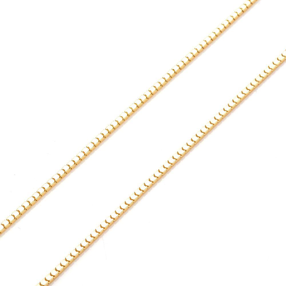 Corrente em Ouro 18K Malha Veneziana de 1,0mm KT Copy - joiasgold 7ffef37333