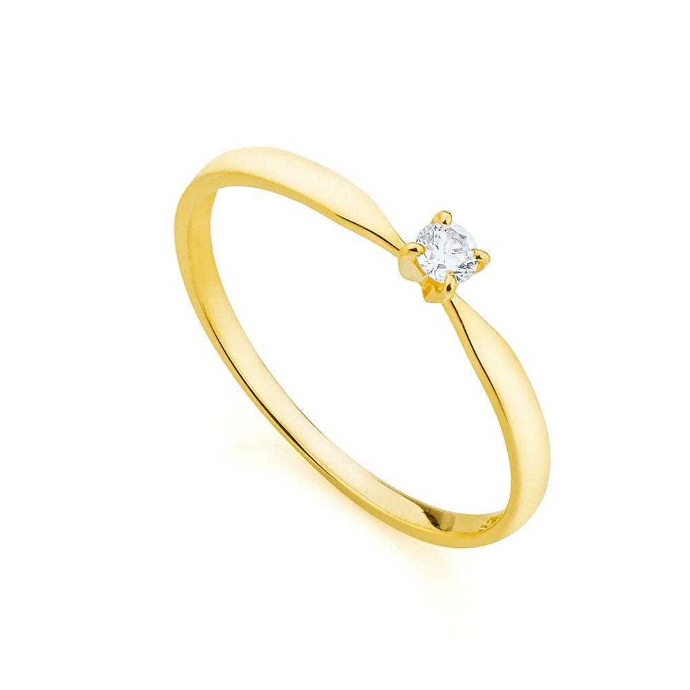 Anel em Ouro 18k Solitário com Diamante 7 Pontos an34013 - joiasgold 2b7c00af5b